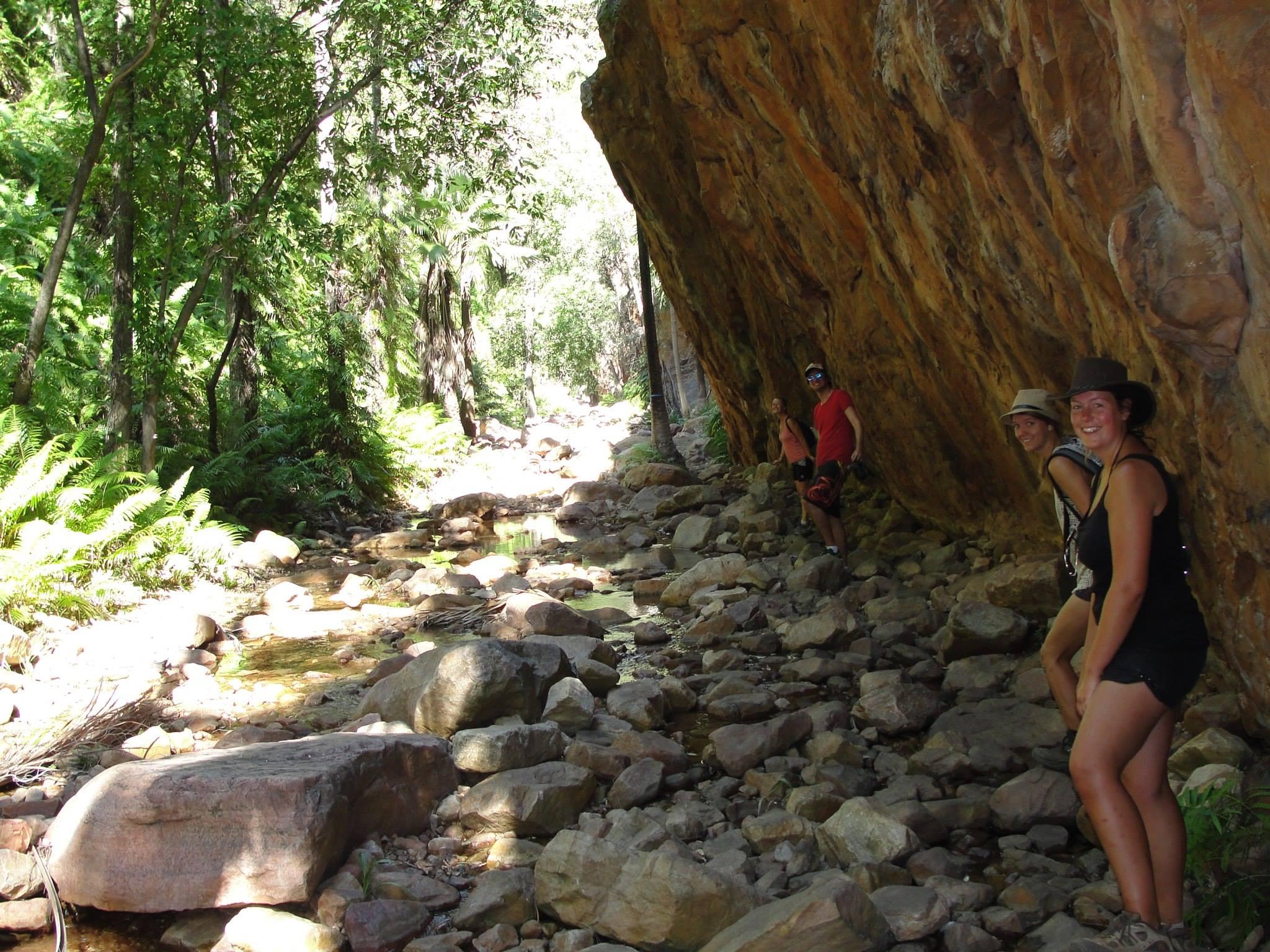 Hiking through a gorge