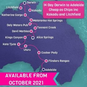 14 Day Darwin to Adelaide Cheap as Chips incl. Kakadu and Litchfield National Parks (dry season only)