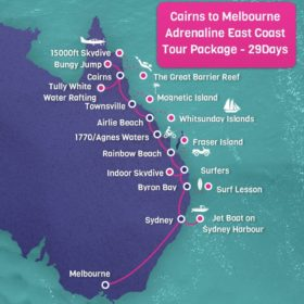 Cairns to Melbourne Adrenaline East Coast Tour Package - 30 days