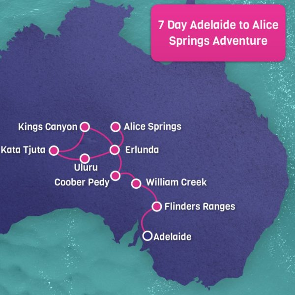 Adventure Adelaide to Alice Springs Map