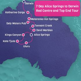 Alice Springs to Darwin 7 Days Map