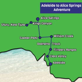 Adelaide to Alice Springs Map