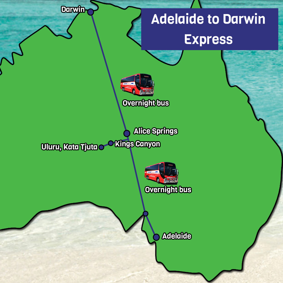 Darwin Map Of Australia.Adelaide To Darwin Express Tour Package One Stop Adventures