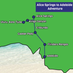 Alice Springs to Adelaide map