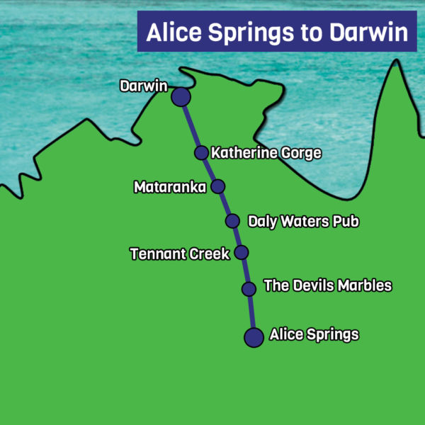 Alice springs to Darwin map