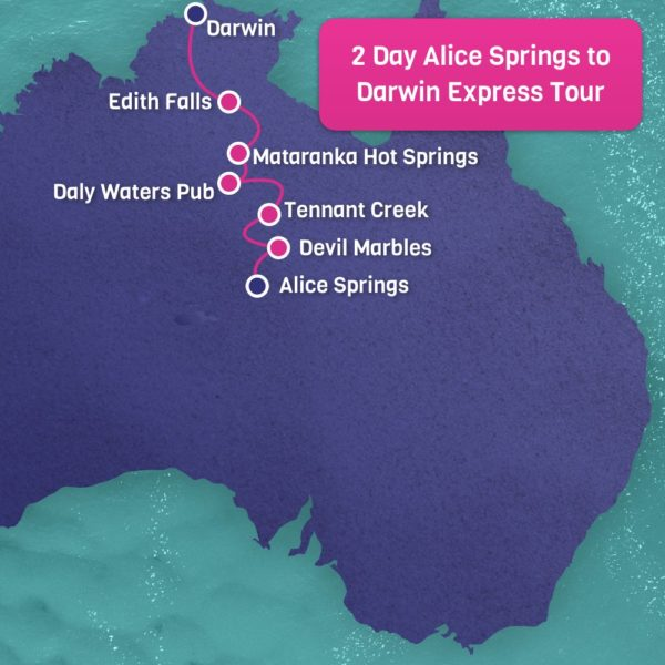 Alice Springs to Darwin Tour Map