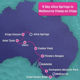 9 Day Alice Springs to Melbourne Cheap as Chips