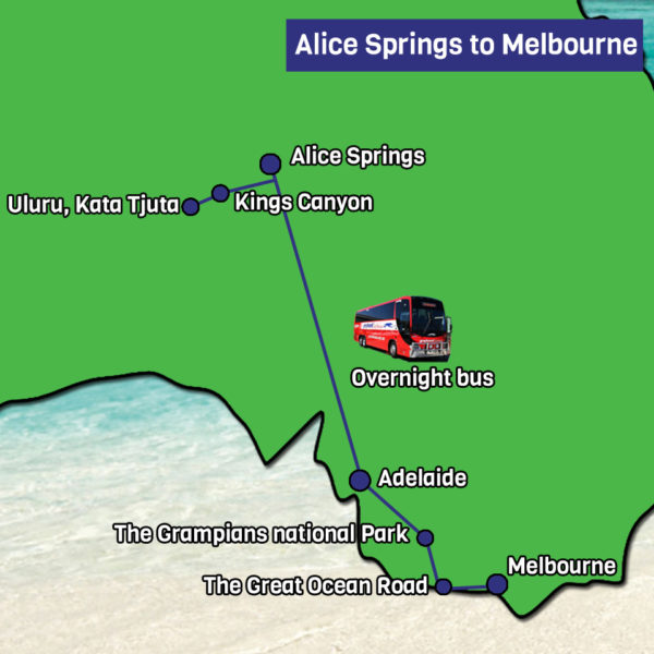 Alice springs to melbourne tour map