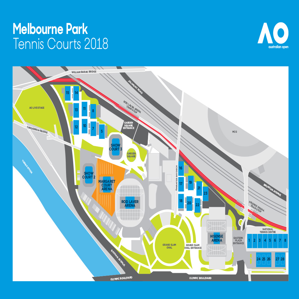 Australian Open Map How to get to Australian Open on public transport   One Stop  Australian Open Map