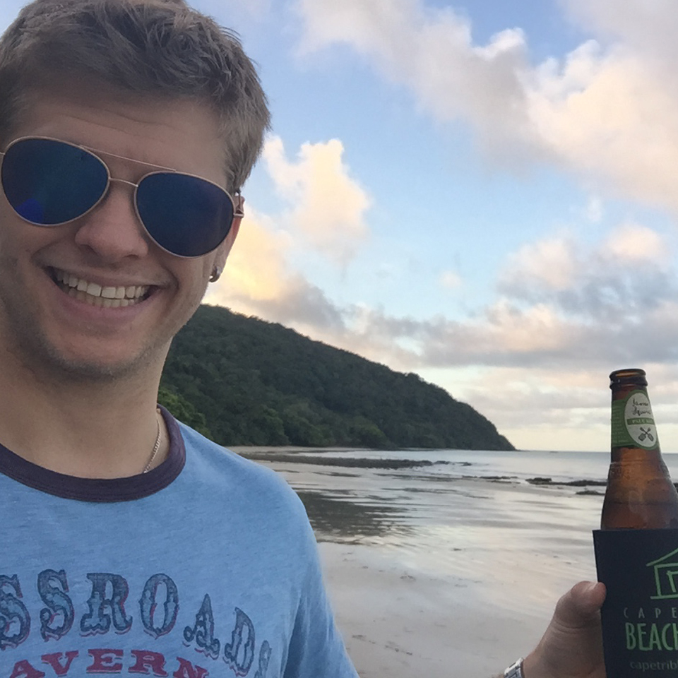 Cape Tribulation beer on the beach
