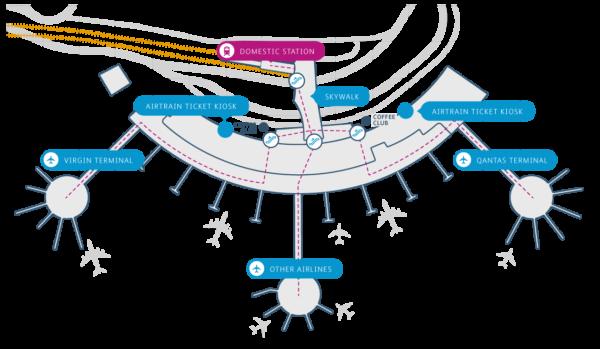 Brisbane Airtrain Domestic terminal map