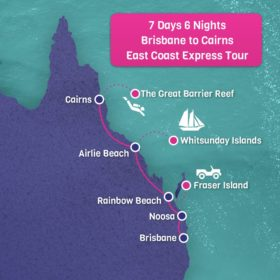 Brisbane to Cairns Tour Map