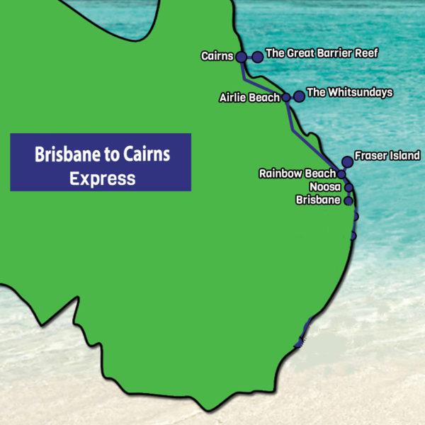 Brisbane to Cairns express tour map