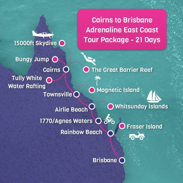 Cairns to Brisbane Adrenaline Map