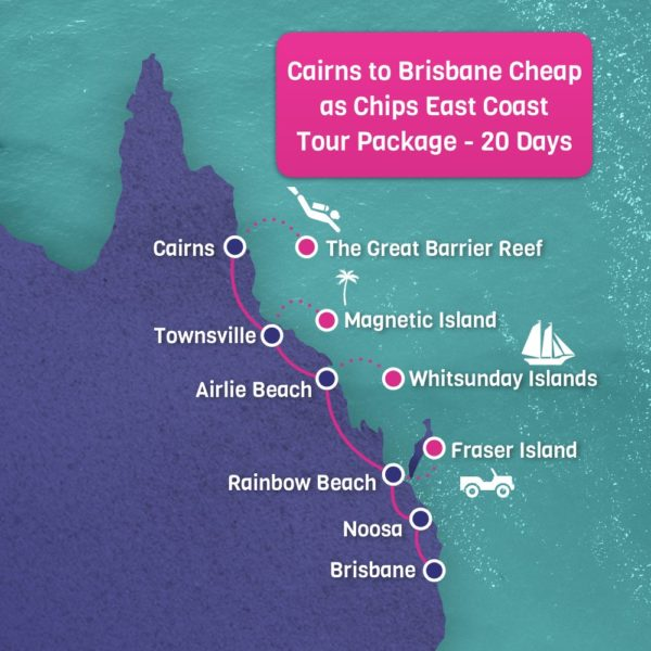 Cairns to Brisbane Tour Map