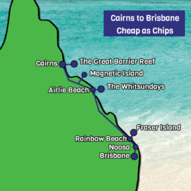 Cairns to Brisbane Cheap as Chips map