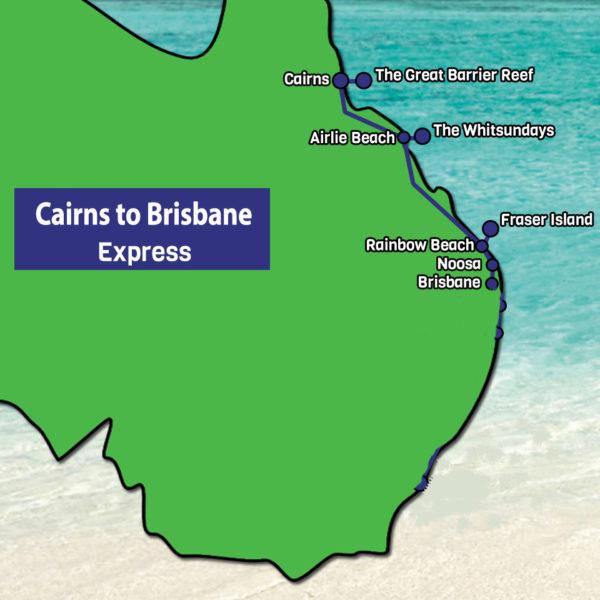 Cairns to Brisbane Express tour map