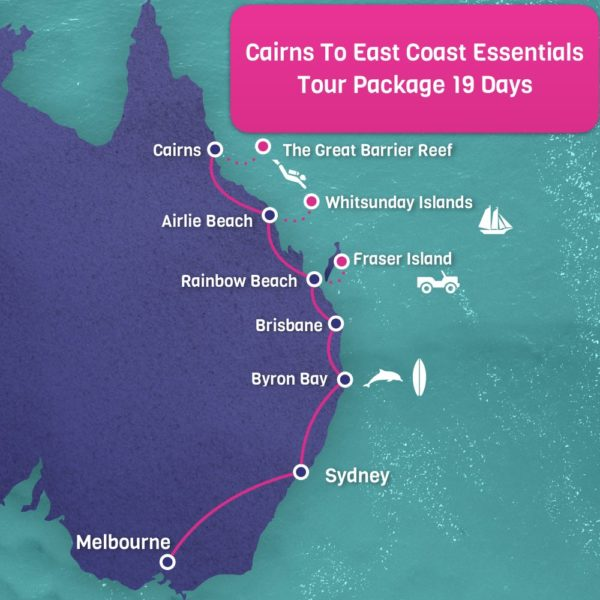Cairns to Melbourne East Coast Map