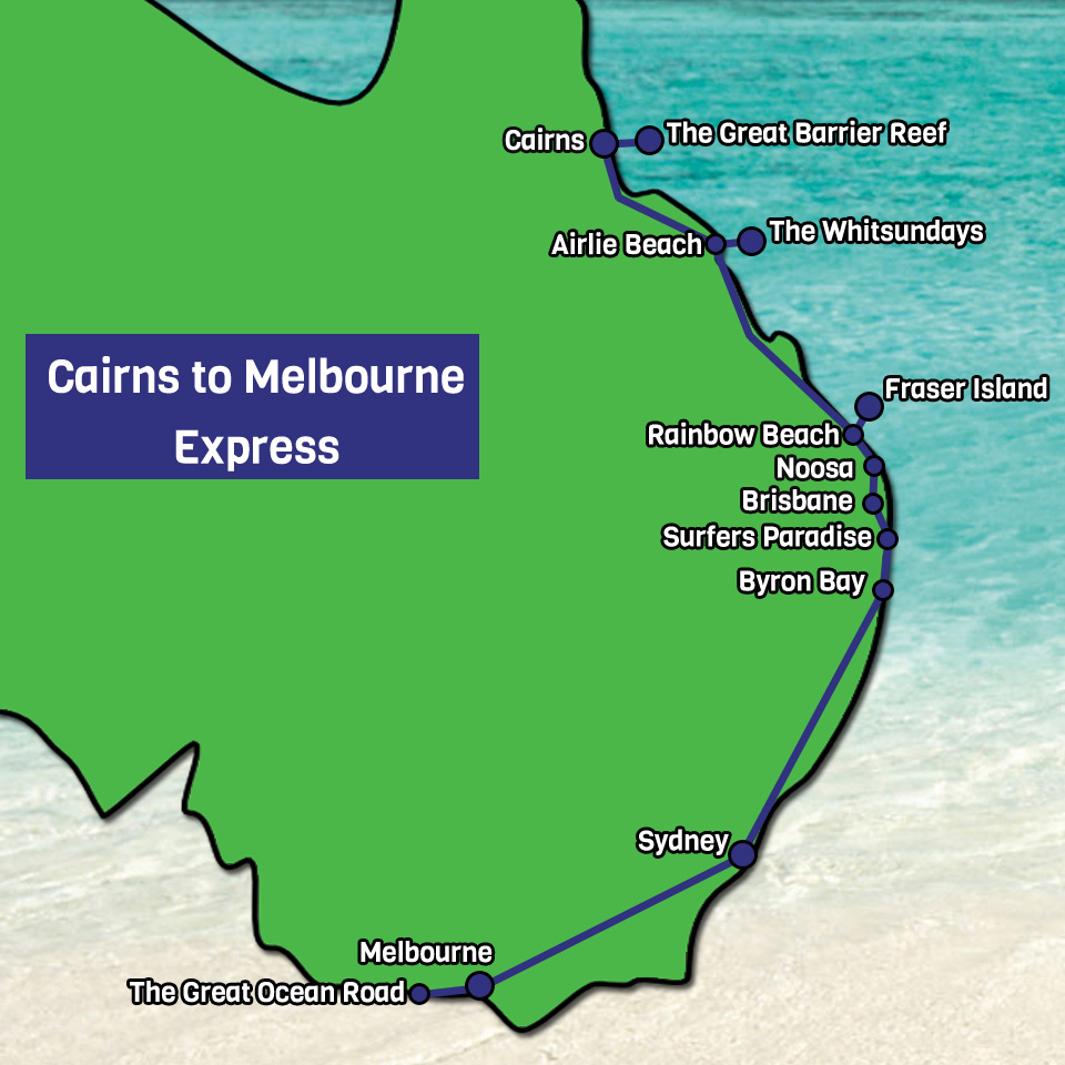 Cairns to Melbourne Express tour map