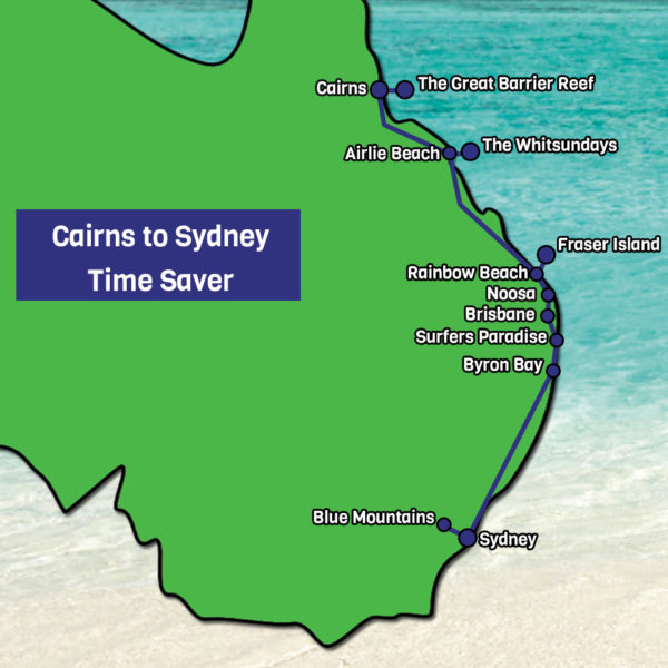 Cairns to Sydney Time Saver map