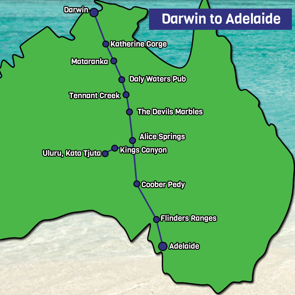 Darwin to Adelaide Map