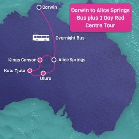 Darwin to Alice Springs Bus plus 3 day Red Centre tour with pre and post accommodation
