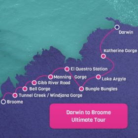 Darwin to Broome Map