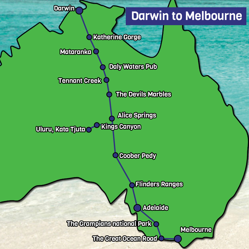 Darwin to Melbourne Map