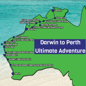 Darwin to Perth Map