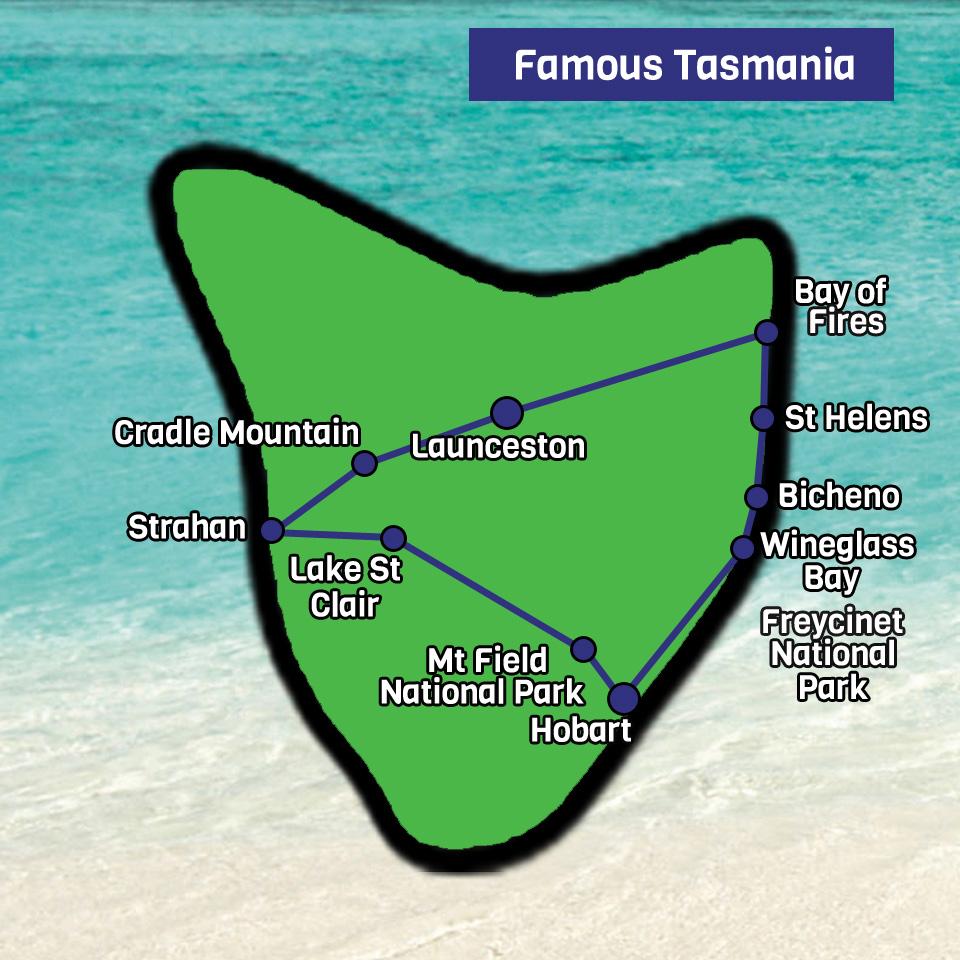 Famous Tasmania map