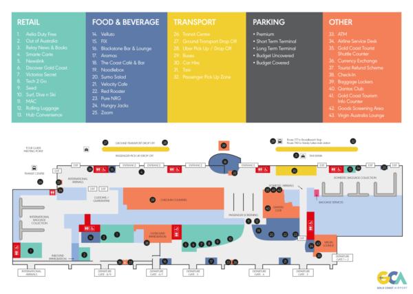 Gold Coast Airport Terminal Map