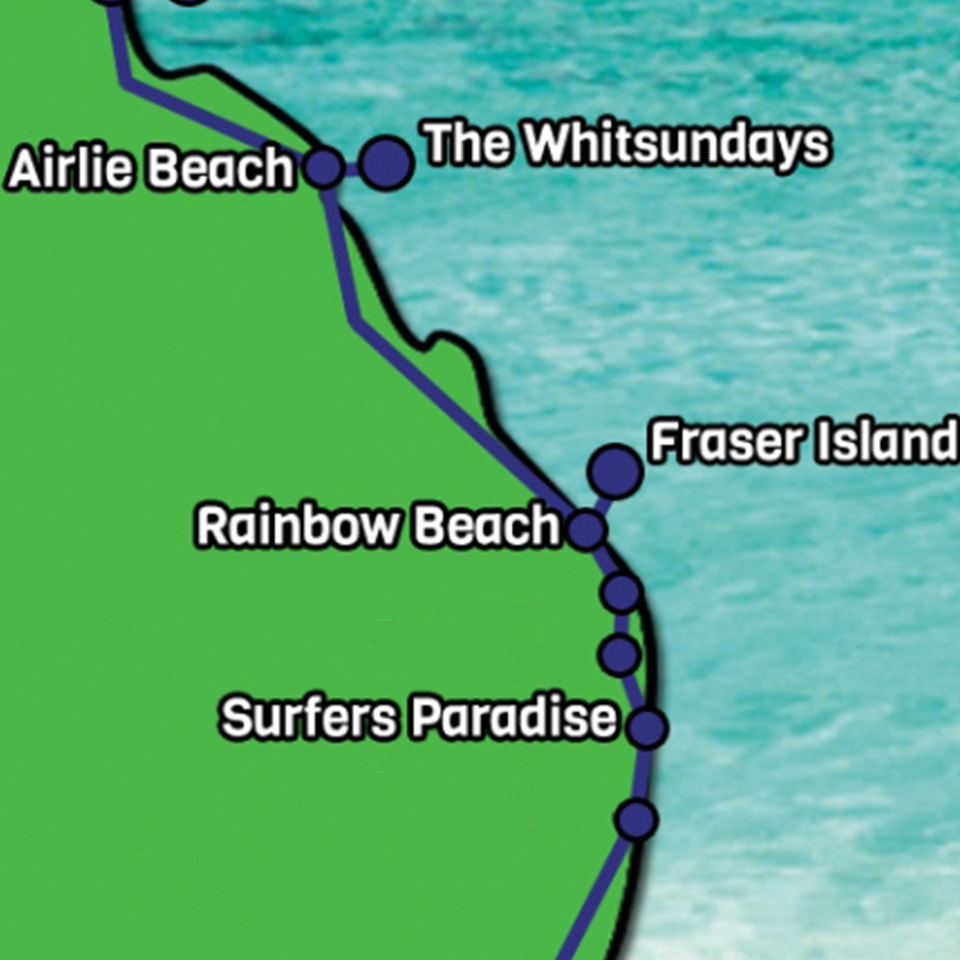 Airlie to Gold coast map