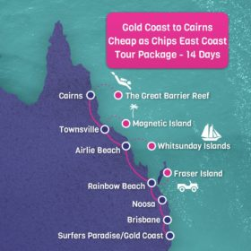 Gold Coast to Cairns CHEAP AS CHIPS East Coast tour package - 22 days