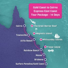 Gold Coast to Cairns Express East Coast Tour Package - 14 days