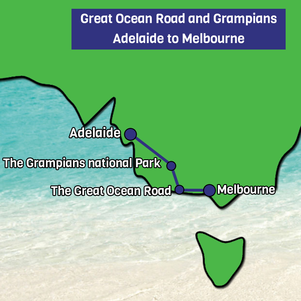 Great Ocean Road and Grampians Adelaide to Melbourne map