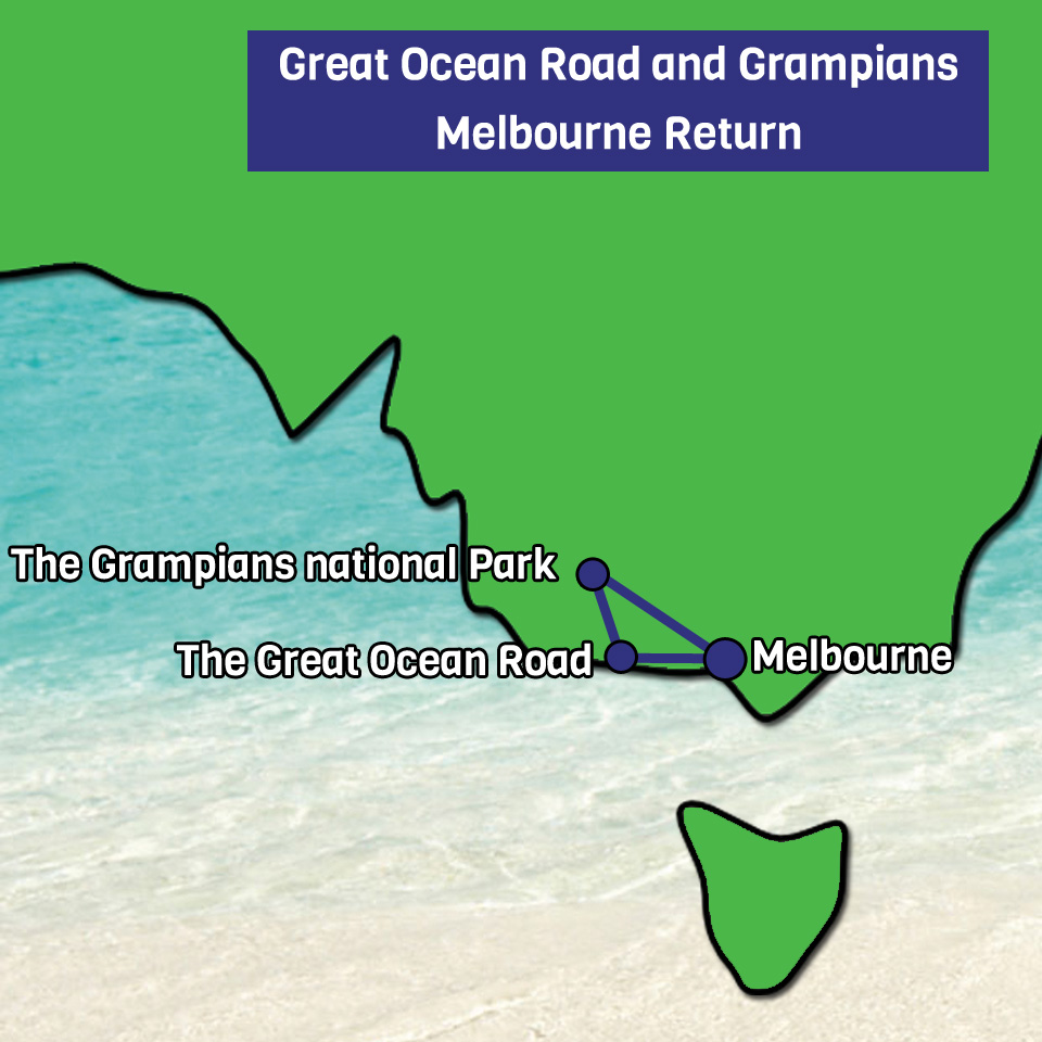 2 day 1 night Great Ocean Road and Grampians map