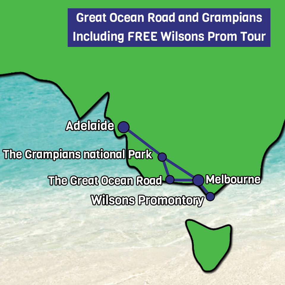 Great Ocean Road and Grampians with Free Wilsons prom tour map