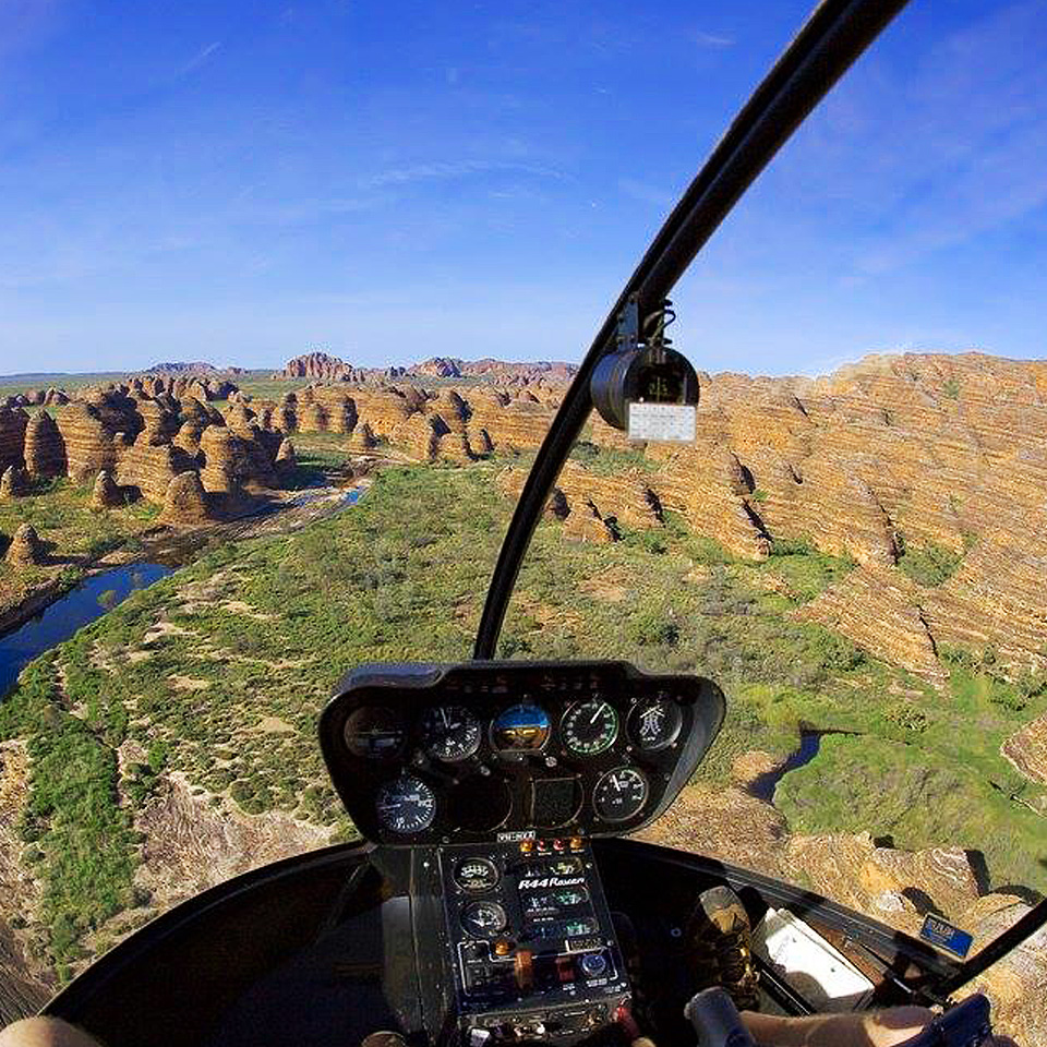 Helicopter over bungle bungles