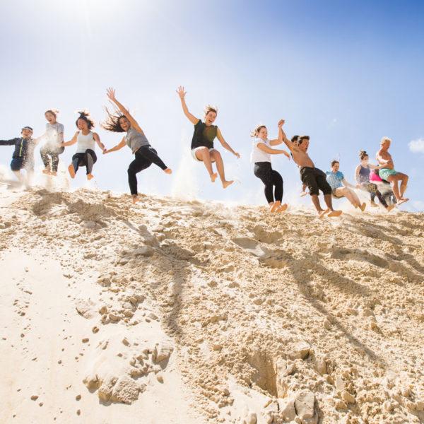 Jumping at Henty Sand Dunes
