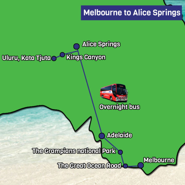 Melbourne to Alice Springs Express tour map