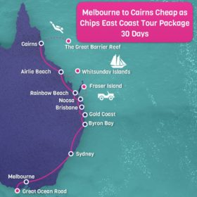 Melbourne to Cairns East Coast Map