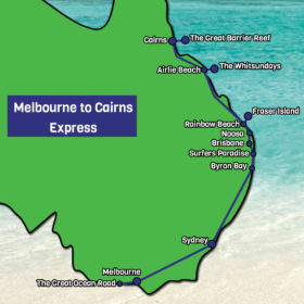 Melbourne to Cairns Express Map