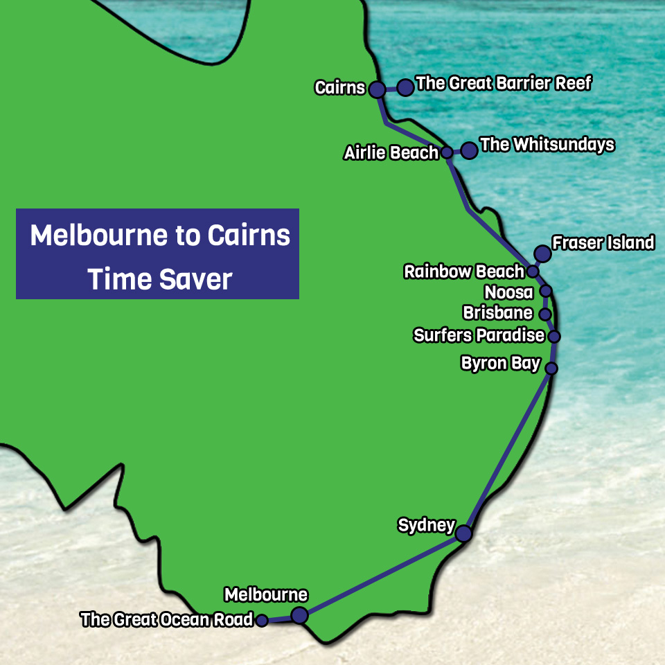 Melbourne to Cairns Time Saver Map