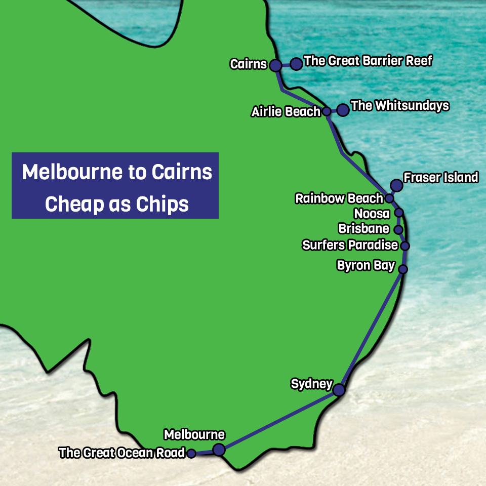 Melbourne to Cairns cheap as chips Map