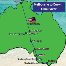Melbourne to Darwin Map