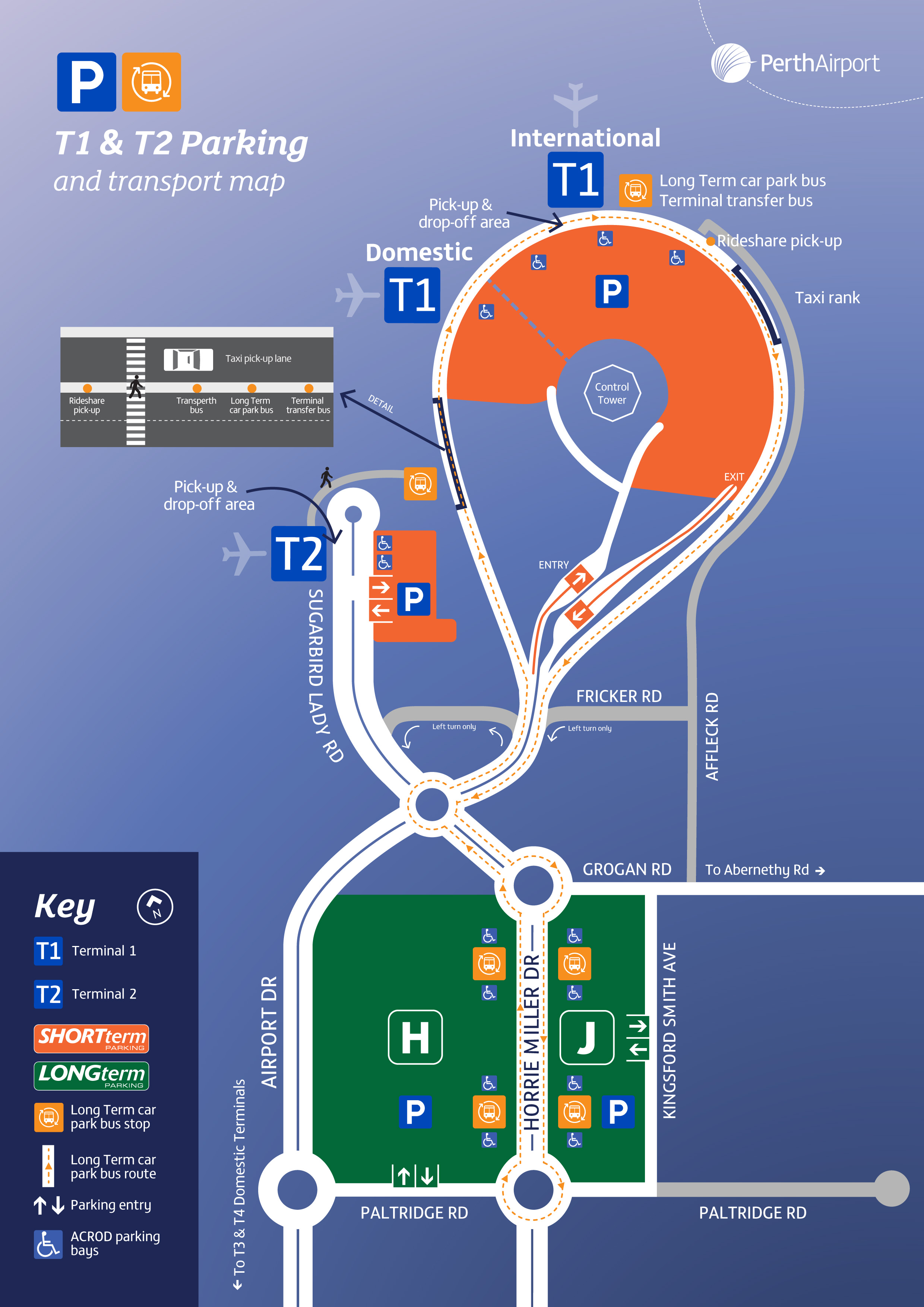 Perth Airport Terminals 1 and 2 map