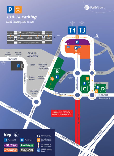 Perth Airport Terminals 3 and 4 map