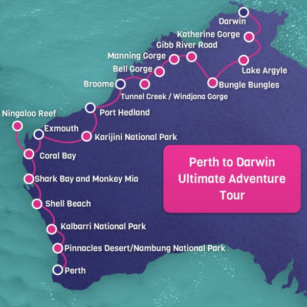 Perth to Darwin Adventure Map