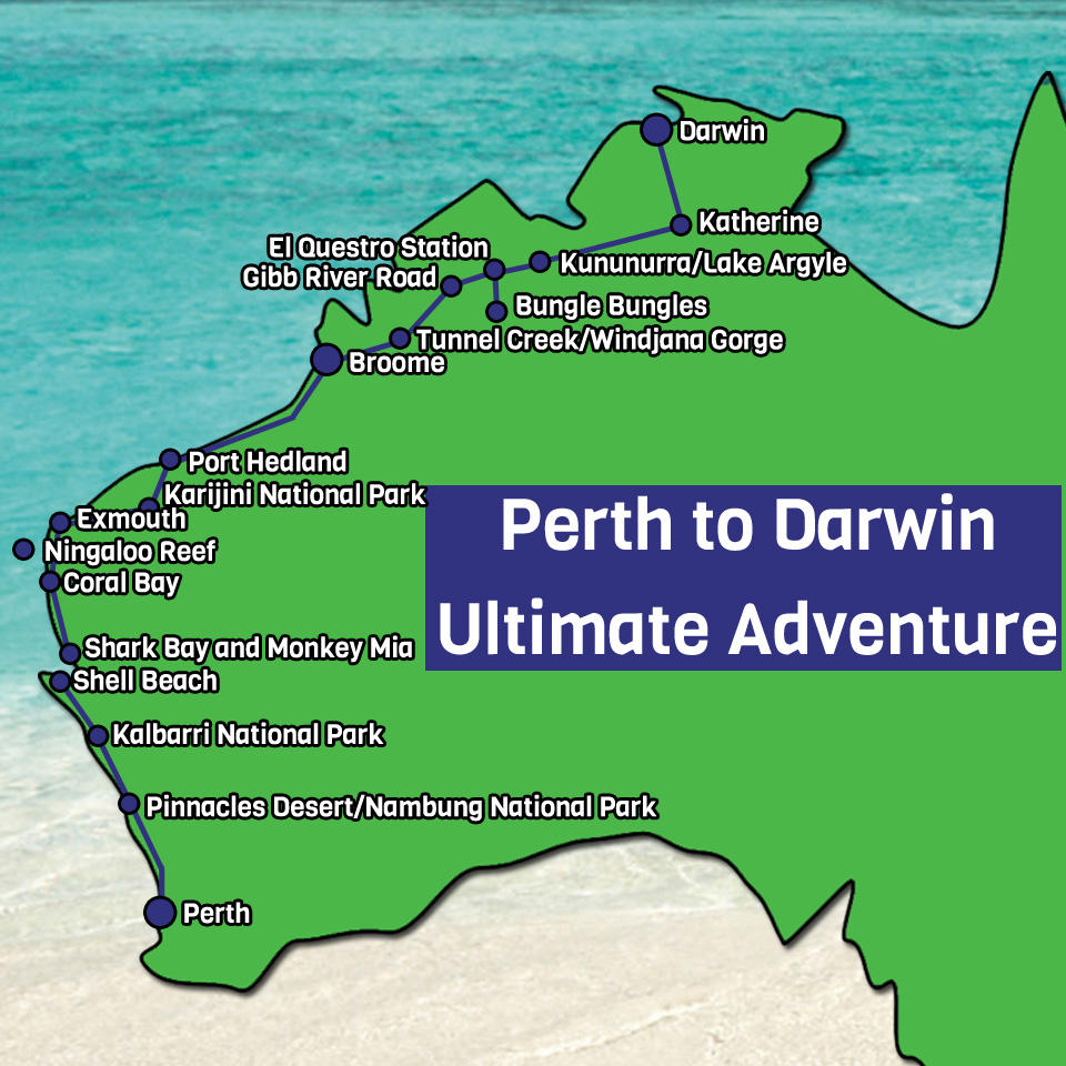Perth to Darwin Map