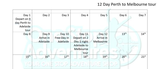tour itinerary Perth to Melbourne